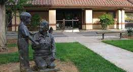 sculpture outside the Davis Senior Canter